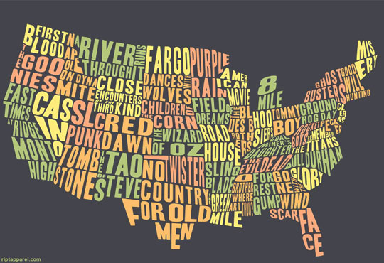 Us Map Funny.Map Of The Day Movies Of The Usa Shoe Untied