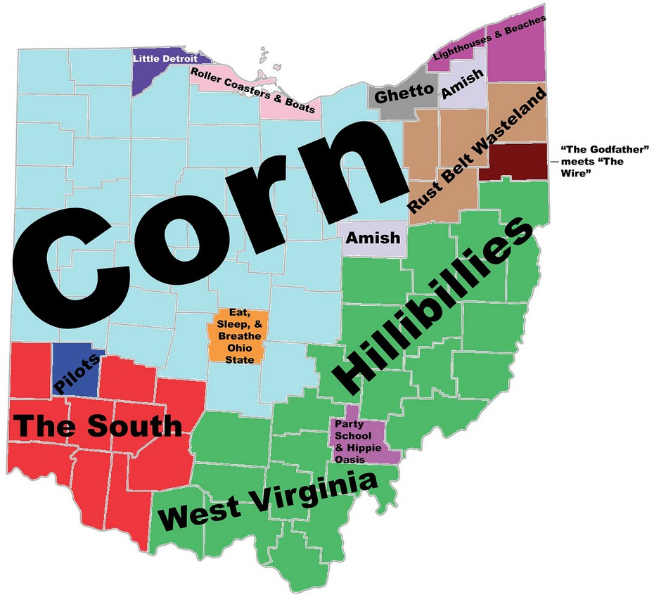 Map Of The Day How People From The East Coast View Ohio Shoe - Ohio on map of us