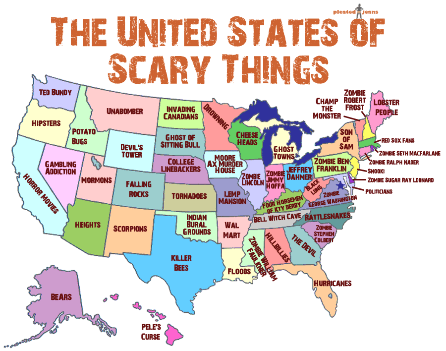 Map Of The Day The United States Of Scary Things Shoe Untied - Rattlesnake map us