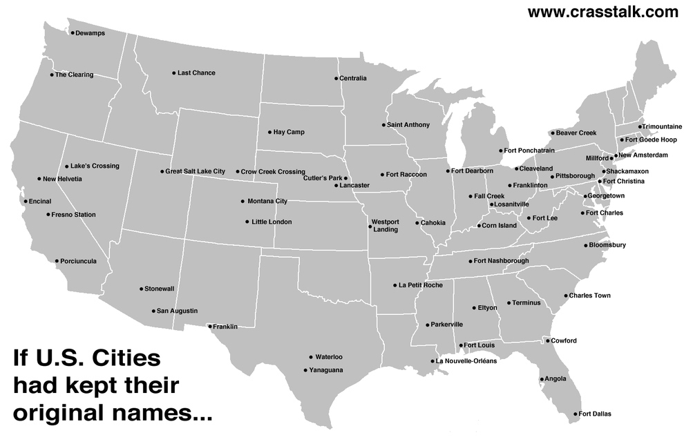 Map of the Day Original Names of US Cities Shoe Untied