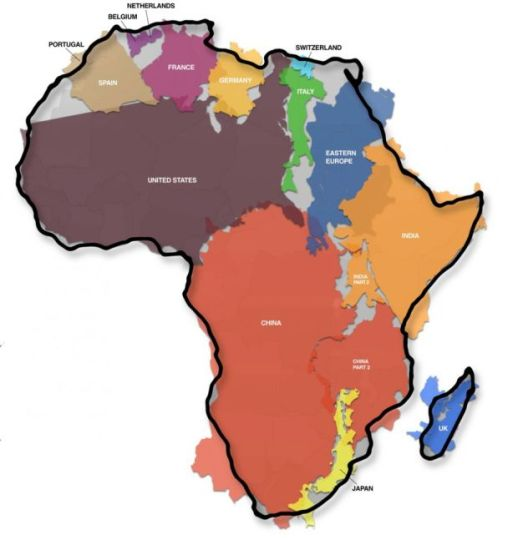 Map of the day all these countries could fit into africa shoe share or die sciox Choice Image