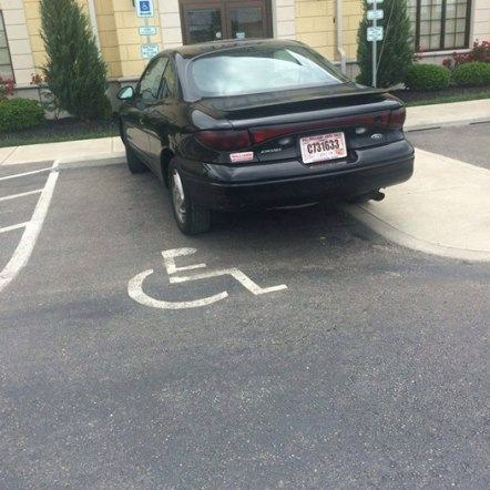 From Mason, Ohio, here's your second Asshat of the Day! This asshat is parking sideways in a handicapped spot! Da hell? Thanks to Asshat Patrol member Nikki Thackston for today's second asshat!