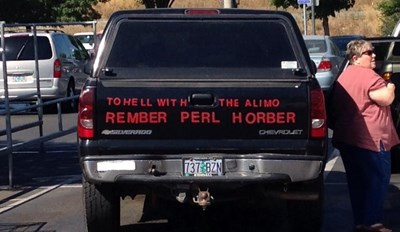 From parts unknown, here's your second Asshat of the Day! I'm not even sure if the parking is bad, I'm just amazed by the poor spelling! Neber forgit man! This is our 118th asshat! Thanks to Asshat Patrol member Mack Martin for today's second asshat!