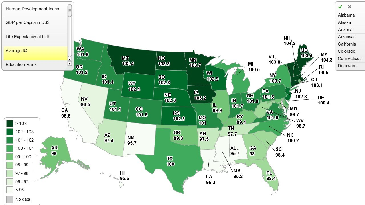 Iq By State Map Map of the Day: USA IQ Test Scores by State | Shoe: Untied