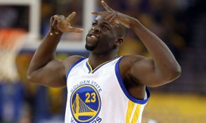 OAKLAND, CA - APRIL 27:  Draymond Green #23 of the Golden State Warriors reacts after making a three-point basket against the Houston Rockets in Game Five of the Western Conference Quarterfinals during the 2016 NBA Playoffs at ORACLE Arena on April 27, 2016 in Oakland, California. NOTE TO USER: User expressly acknowledges and agrees that, by downloading and or using this photograph, user is consenting to the terms and conditions of Getty Images License Agreement.  (Photo by Ezra Shaw/Getty Images)
