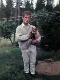 My Finnish Grandfather Smoking A Cigarette And Holding A Wild Fox That He Befriended (Circa 1975)