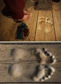 Monk's footprints in a monastery.