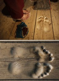 Monk's footprints in a monastery.