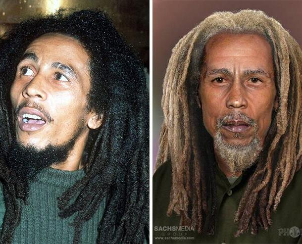 Reggae legend Bob Marley, who died of cancer in 1981. He'd be 73 today.