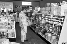 Only James Dean could look this cool buying tomato soup. From 1955.