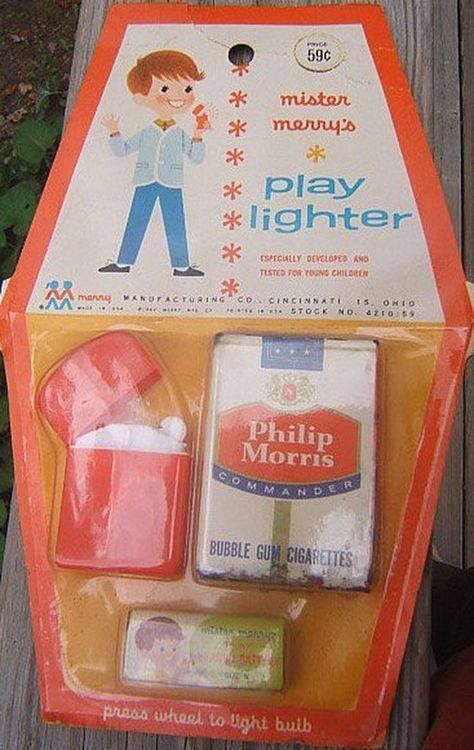 """Son, go to your room and play with your toy lighter and candy cigarettes."" Hey, parents started 'em young back then."