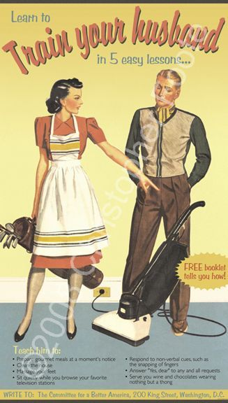 Because no self-respecting man in the 1950s could be caught sweeping the damn floor!