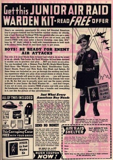 Hey, every little boy wanted to be an Air Raid Warden when I was a kid.