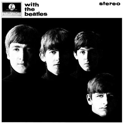 """On With the Beatles, photographer Robert Freeman snapped the iconic photo in stark black and white. Just perfect. """"Rather than have them all in a line, I put Ringo in the bottom right corner, since he was the last to join. He was also the shortest."""" Poor Ringo, man."""