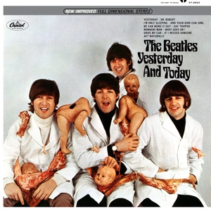 "Ah, the infamous ""Butcher"" cover that was eventually retracted and redone, and the originals are worth a mint today. Taken by photographer Robert Whitaker, and said to be the Beatles' statement against the Vietnam War, this image showed the band dressed in white smocks and covered with decapitated baby dolls and pieces of raw meat. The title is a play on the song ""Yesterday"" the feature track on the album."