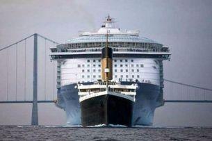 Titanic vs. Modern Day Cruise Ship. Eat it Titanic.