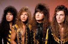 This is actually the successful Christian band Stryper, apparently gazing up at the Rapture.